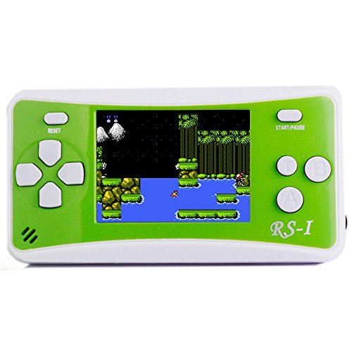 JJFUN RS-1 Handheld Game Console for Children,Retro Game Player with 2.5'' 8-Bit LCD Portable Video Games,The 80's Arcade Video Gaming System,Built-in 152 Classic Old School Games Entertainment-Green by JJFUN