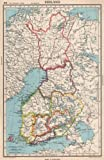FINLAND. showing provinces. Also shows pre-1940 borders/changes - 1952 - old map - antique map - vintage map - printed maps of Finland