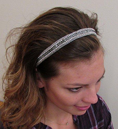 LIA - MG -Regalia Beaded Rhinestone Stretch No Slip Headband (Hair Jewelry)