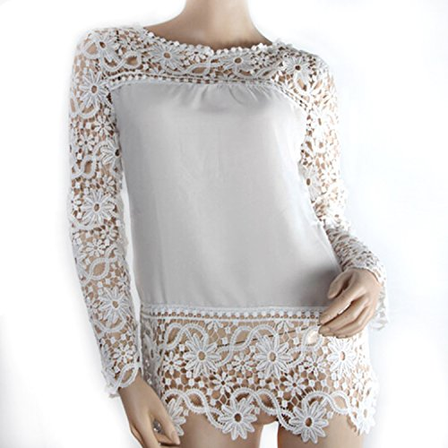 Moxeay® Lace Crochet Embroidery Tops Long Sleeve Shirt Casual Blouse (M, White)