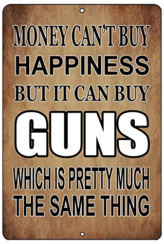 Rogue River Tactical Funny Pro Gun Metal Tin Sign Wall Decor Man Cave Bar Money Happiness Guns