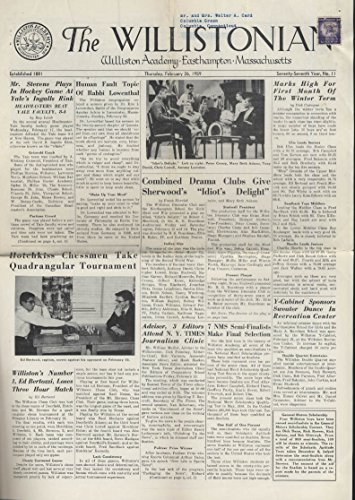The Willistonian Williston Academy News 2 26 1959 Chess Track Wrestling Swimming