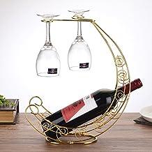 Creative Wrought Iron Wine Rack / European Red Wine Cup Upside Down Rack / Retro Home Wine Shelf L30CM * W15CM * H36CM ( Color : Gold )