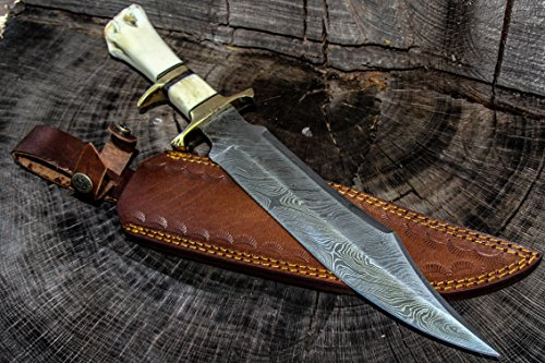 15 Inch Fixed Blade Custom Hand Made Damascus Steel Hunting Bowie Knife Camel Bone Handle With Leather Sheath