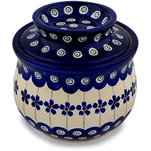 Bunzlauer Keramik Beurrier avec refroidissement par eau en céramique de Boleslawiec Motif 166a