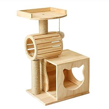 Árboles para gatos Consola de árbol de Gato de Madera Maciza Poste de raspado Recubierto de
