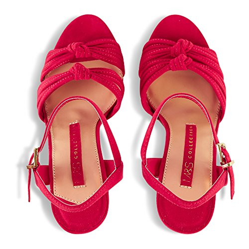 And Spencer red Rojo De Tira Suede Mujer Tobillo Marks RaZnqd15wa
