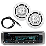 Great New KMR-D362BT Kenwood Marine Boat Yacht Outdoor Bluetooth Stereo CD MP3 Player USB iPod iPhone Pandora AM/FM Reciver, 2 X Kenwood 6.5 Inch Waterproof Speakers Enrock Antenna - Marine Audio Kit