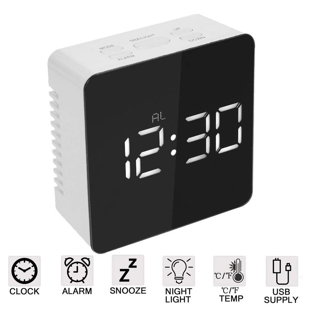 Mikuyou Alarm Clock, Large LED Display Digital Alarm Clock Snooze Activated Night Light Features (White)