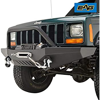 amazon com eag front bumper with led lights winch plate for 84 01 rh amazon com