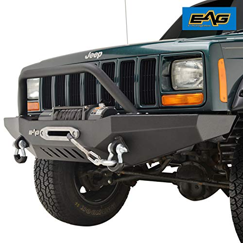 (EAG Front Bumper with Winch Plate & Winch Plate for 84-01 Jeep Cherokee)