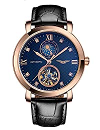 Fanmis Business Waterproof Moon Phase Automatic Mechanical Men Watch Black Leather Strap Rose Gold