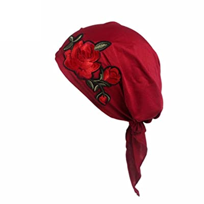 Fabal Women Rose Embroidery Cancer Chemo Hat Beanie Scarf Turban Head Wrap Cap (Red): Clothing