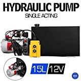 VEVOR 12V/DC Single Acting Hydraulic Pump 15 Quart/ 3.9 Gallon Metal Reservoir Hydraulic Pump Unit Remotely Controlled for Dump Trailer (15 Quart,Single Acting)