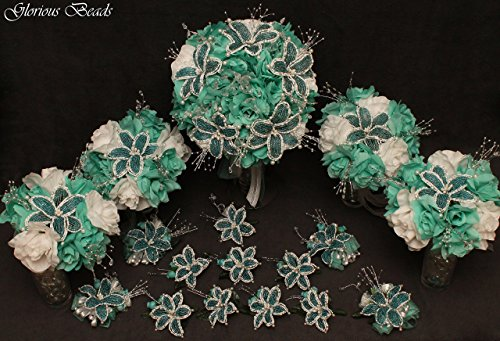 (Aqua and White Beaded Lily Wedding Flower 17 piece set with Aqua and White Roses ~ Unique French beaded flowers and beaded sprays. Includes Bouquets Corsages and Boutonnieres)