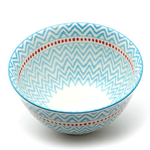 Porcelain Light Blue (Bowls Set for Salad/Soup/Cereal, Large and Durable, Set of 6, Porcelain, 5.6 Inch - Light Blue)