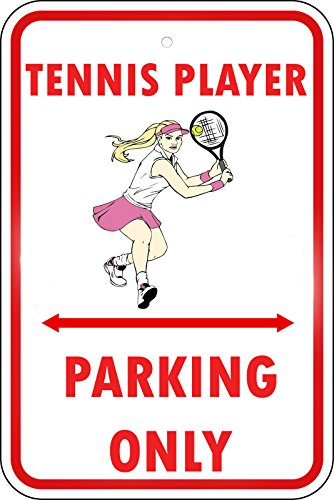 (Tennis Player Style 2 Parking Only LABEL DECAL STICKER Sticks to Any Surface 9x12 In)