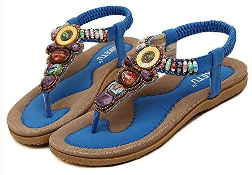 Minetom Mujer Sandalias Con Cuentas Embellecimiento Bohemio Estilo Zapatos Playa Sandalias Verano Azul