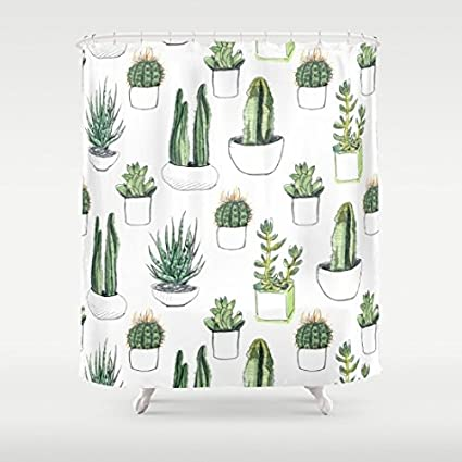 Amazon Cacti And Succulent Polyester Shower Curtain Fashion