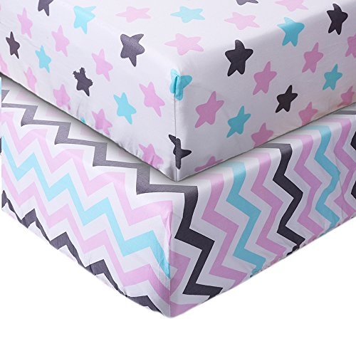 Crib Sheet UOMNY 100% Cotton Baby Coverlet for Baby Girl and Baby Boy 2 Pack(Chevron Stripes Pattern/Star ()