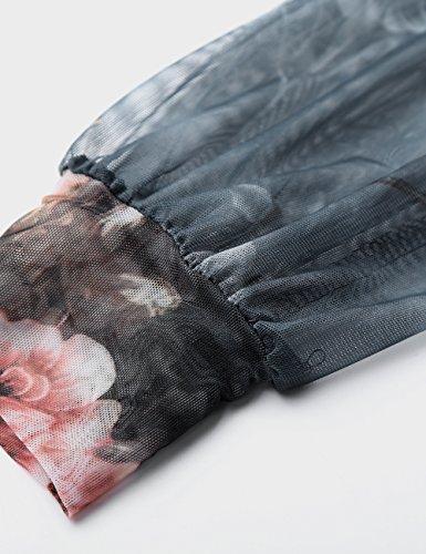 Pliss 2 Longues Femme BaiShengGT Shirt Blouse fleur Gris T Avant Manches 1fvpxR