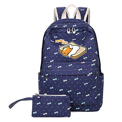 (YOURNELO Cartoon Gudetama Bowknot Rucksack School Backpack Bookbag for Boys Girls (Toast Navy Blue))
