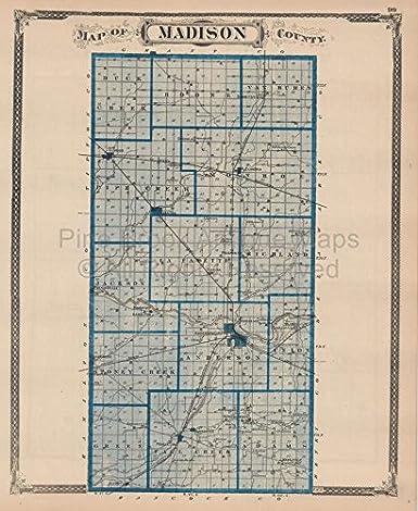 Amazon Com Madison Delaware County Indiana Vintage Map Baskin 1876