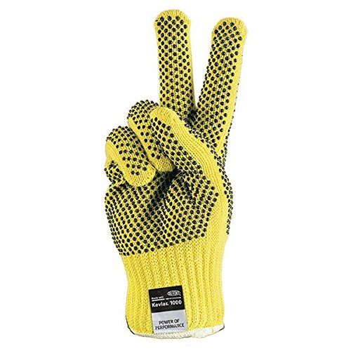 MCR Safety Kevlar Gloves, PVC Dual-Sided Dotted, Full-Finger, Large (36 Pair)