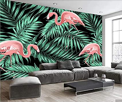Carta Da Parati Murales.Nordic Flamingos Tropical Leaves Art Decorazione Murale Carta Da Parati Carta Da Parati Murales Decal Hd Stampato Animal Wall Rotoli Di Carta Custom 8d 450x300cm Amazon It Fai Da Te