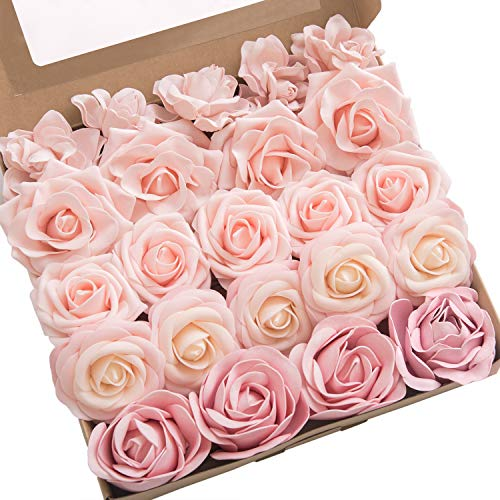 Ling's moment Artificial Flowers Combo Realistic Fake Roses with Stem for DIY Wedding Bouquets Centerpieces Floral Arrangements Decorations (Cozy Blush)