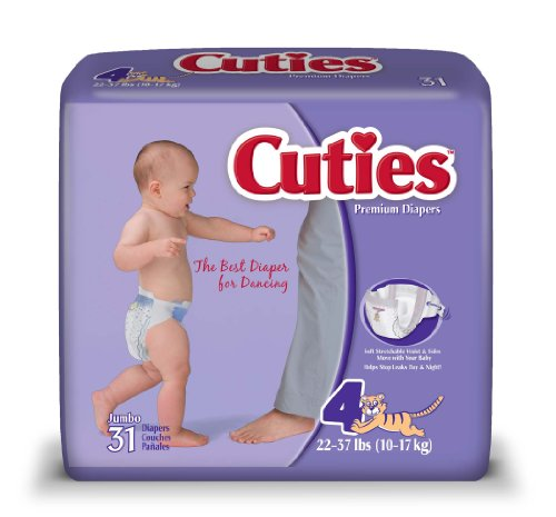 Cuties Jumbo Pack Diaper, Size 4, 124 Count