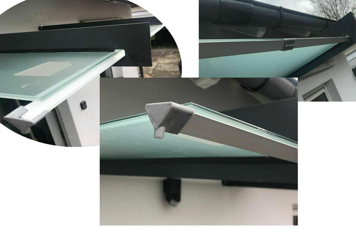 1 Regenrinne f/ür Vordach Vordachtr/äger Vordachhalter Tr/äger Abfluss Alu eloxiert
