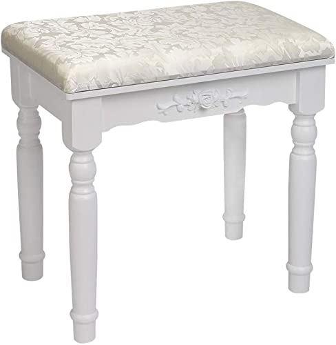 Bonnlo White Vanity Stool Makeup Dressing Piano Stool with Solid Wood Legs,Vanity Bench with Padded Seat Padded Chairs,17.7 L x 12.0 W x 17.3 H