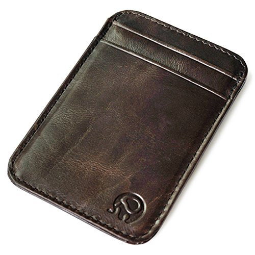Vintage Genuine Leather Wallet Slim Front Pocket Credit Card Holder Sleeve Card case (Dark brown)
