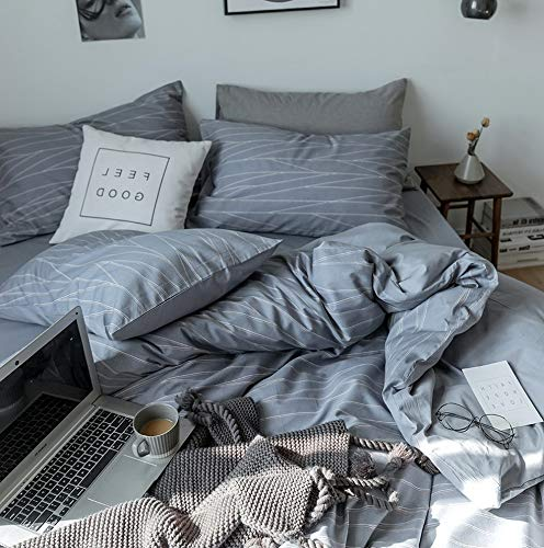 Hemau Grey Cotton Bedding Set Queen 3 PC Soft Geometric Stripe Pattern Bedding Collections Lightweight Soft Full Bed Men Boys Comforter Cover with Zipper Closure Corner Ties | Style 503194642