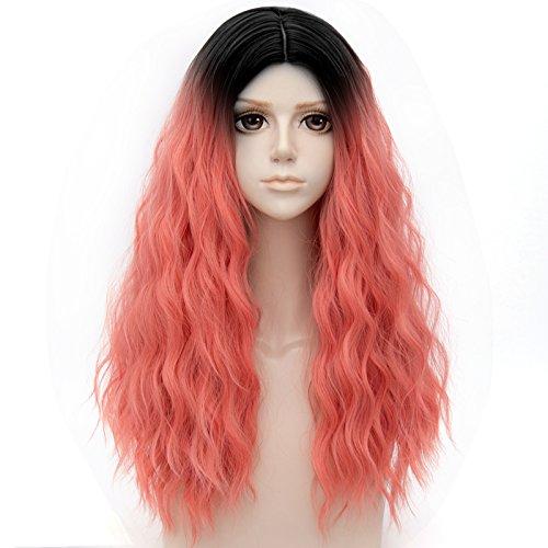 Tsnomore 2トーン ファッション ウェ−ブ 小さなカールセミロング ウイッグ 日常とコスプレのミックスのための レディース WIG 髪 カツラ【ナチュラルグラデーションでピンクと黒い】