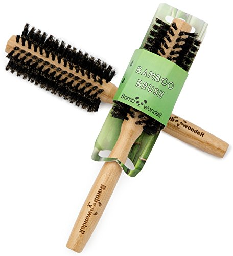 (Bamboo Round Brush, 100% Natural Hair Brush with very soft Boar Bristles & Slip-Free Ergonomic Bamboo Handle for Healthy & Shiny Hair, Professional Hair Detangler Comb, By Bamboo Wonder®)