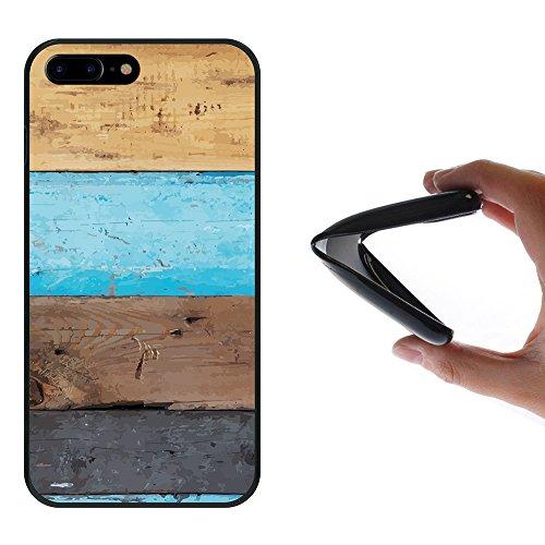 iPhone 8 Plus Hülle, WoowCase Handyhülle Silikon für [ iPhone 8 Plus ] Holzwand Handytasche Handy Cover Case Schutzhülle Flexible TPU - Schwarz