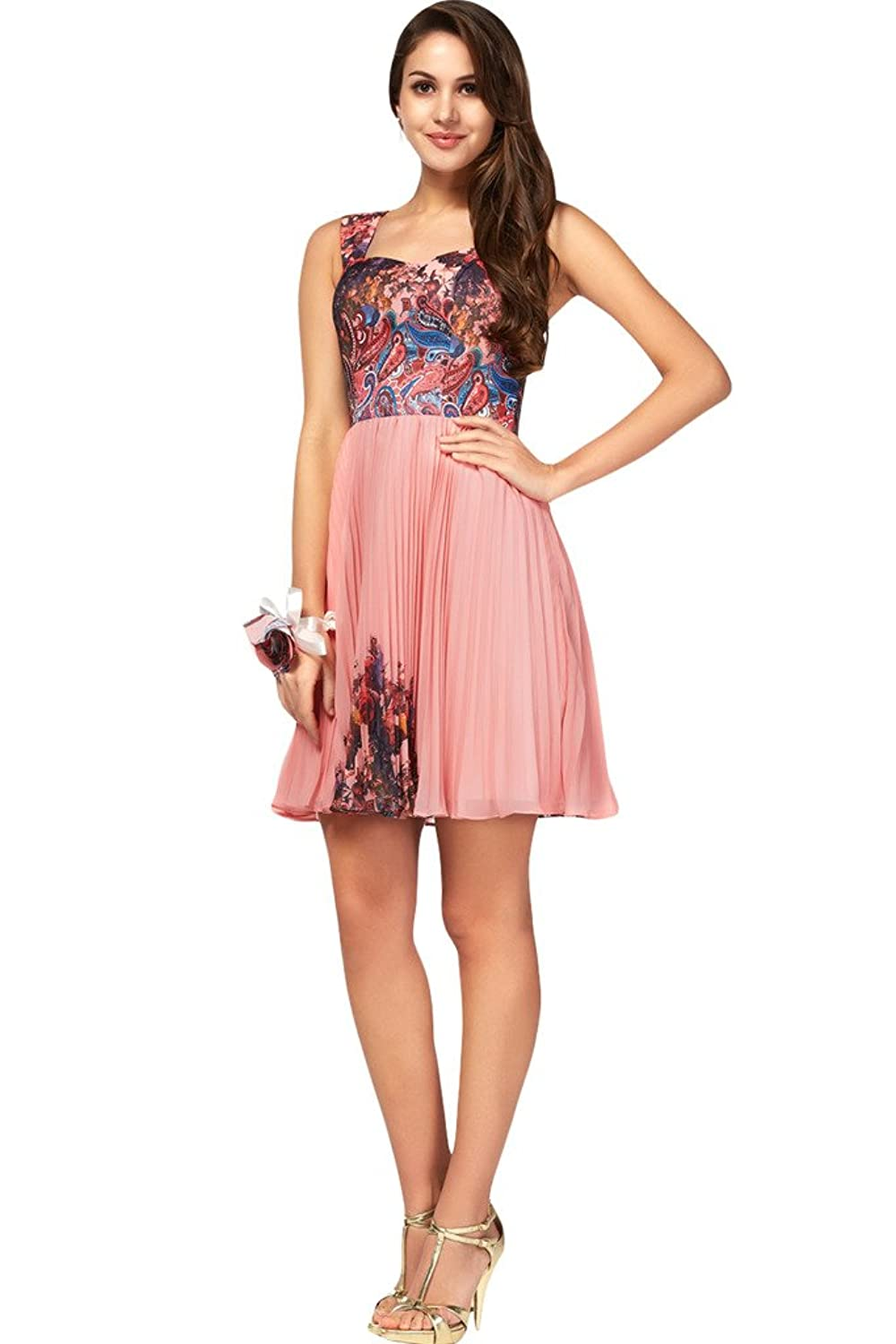Ivydressing Fancy Printing Chiffon Short Prom Gowns Party Homecoming Dresses