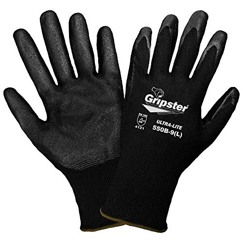 Global Glove 550B Gripster Ultra Light Nitrile Glove with Knit Wrist Liner, Work, Medium, Black (Case of 72)