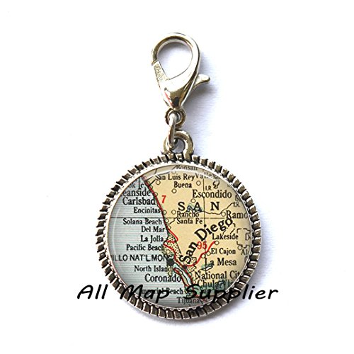 Beautiful Zipper Pull San Diego map Charming Zipper Pull, San Diego Charming Zipper Pull, San Diego Zipper Pull, Beautifulmap jewelry,A0026