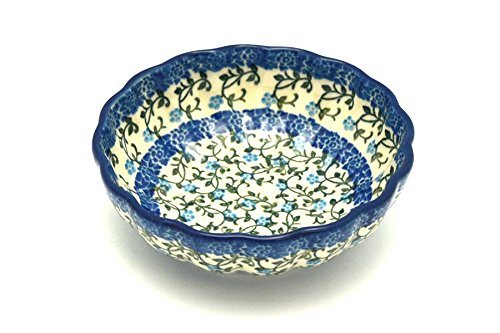 Polish Pottery Bowl - Shallow Scalloped - Small - Terrace Vines
