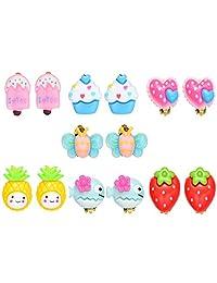 7 Pairs Resin Fruit Animal Theme Clip On Earrings Set for Kids Toddler Little Girls