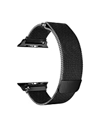 Correa para Apple Watch 42mm, Cantome Malla de acero inoxidable de malla milanesa con cierre de cierre magnético ajustable iWatch Band para Apple Watch Series 3 2 1, Negro