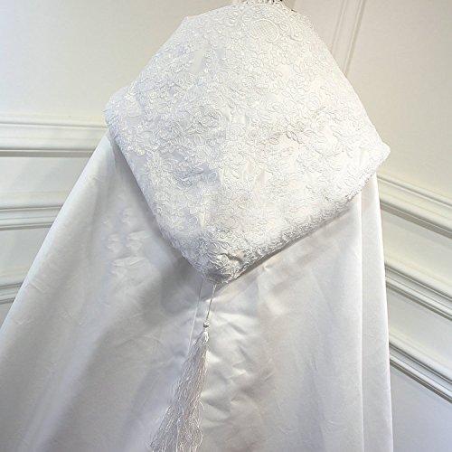 d'Hiver pour Cape Dentelle Automne Bord Kengtong Capuche Bolro Mariage Echarpe Satin Longue en Ivoire Manteau Femme CS56q