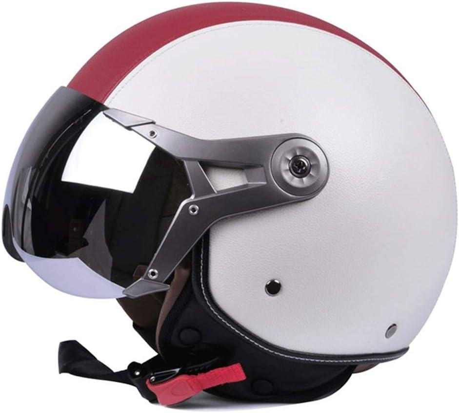 オートバイヘルメットバッテリーカーハット男性ハーフヘルメット電気自動車四季女性冬 保護 (Color : 白い, Size : L)