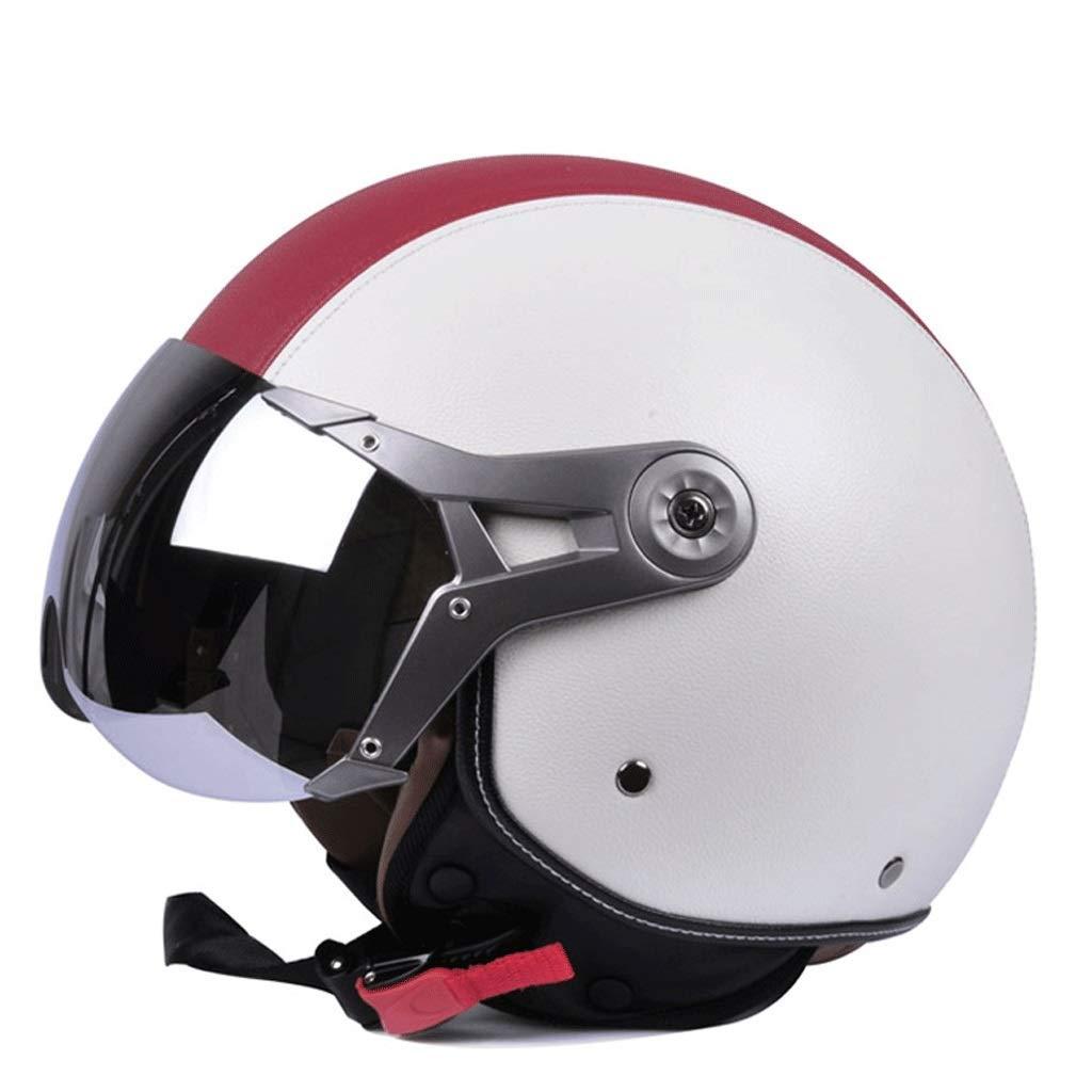 オートバイヘルメットバッテリーカーハット男性ハーフヘルメット電気自動車四季女性冬 保護 (Color : 白い, Size : M)