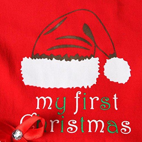 Longra Kleinkind Neugeborene Baby Mädchen Brief Dot Tutu Kleid Weihnachten Outfits Kleidung Set Baby Prinzessin Kleid Kostüm(0-18Monate) Red