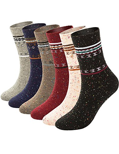 6 Pairs Womens Thick Wool Knit Winter Crew Socks,Soft