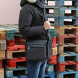 David Jones – Men's Messenger Crossbody Bag – Multipocket Shoulder Bag PU Leather – Multiple Zipper Pockets Compartment…